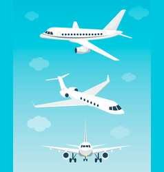 Set airplanes with different angles vector