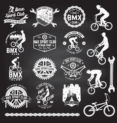 Set bmx extreme sport club badge vector