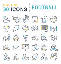 set line icons football vector image