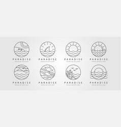 Set ocean line art logo minimalist design vector