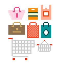 shopping bags pixel art set vector image