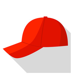 side view of red baseball cap icon flat style vector image