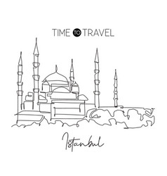 single continuous line drawing blue mosque vector image