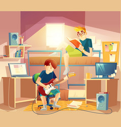 Small dormitory room with roommates vector