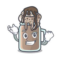 Successful milkshake character cartoon style vector