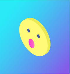 Surprised face emoji social network icon vector