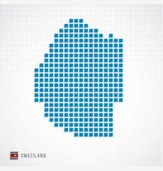 Swaziland map and flag icon vector