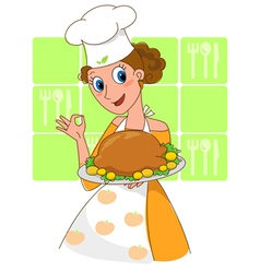 Thanksgiving cooked turkey vector