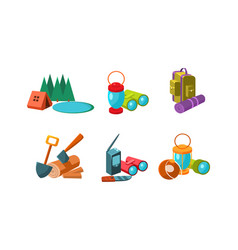 touristic equipment tools for hiking and camping vector image