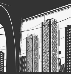 urban panorama skyscrapers and bridge graphics vector image