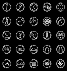 Warning sign line icons on black background vector image