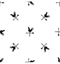 weather vane with cock pattern seamless black vector image