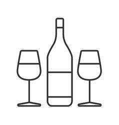 Wine and two glasses linear icon vector