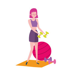 Woman with ball dumbbells and dog exercises at vector