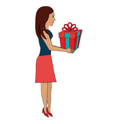 woman with giftbox present vector image