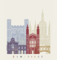 cambridge skyline poster vector image vector image