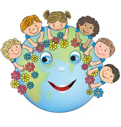 Children hugging planet Earth vector image
