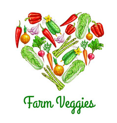 heart made up of vegetables sketch poster vector image vector image