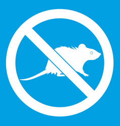 No rats sign icon white vector