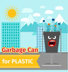 plastic trash can with monster face vector image