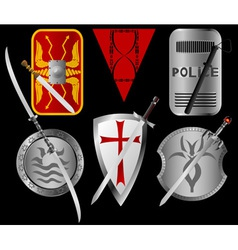 Set of shields and swords vector image