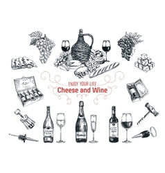 set of vine and cheese elements vector image vector image