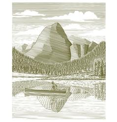 Woodcut Man and Canoe vector image