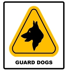 Yellow black triangle warning guard dogs on duty vector