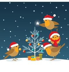 Funny Christmas Robins vector image