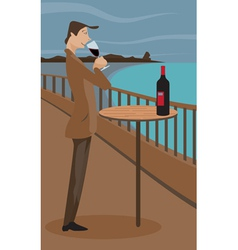 man sipping wine vector image vector image