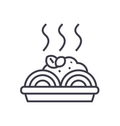 porridge with meatballs line icon sign vector image