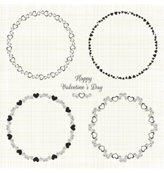 Set of circle cute frames for the St Valentines vector image vector image