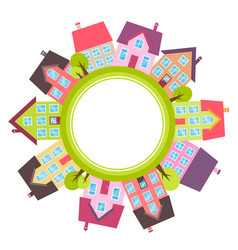 banner with small town with colorful houses vector image