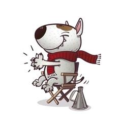 Cartoony bullterrier claps vector