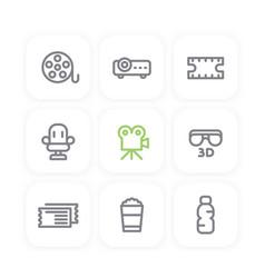 cinema line icons film reel projector tickets vector image