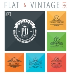 flat and vintage elements icons vector image vector image