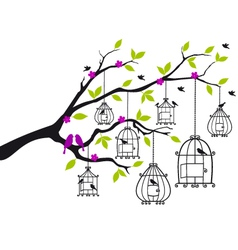 free birds and open birdcages vector image