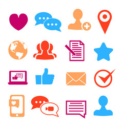 icons set for social network and community sites vector image