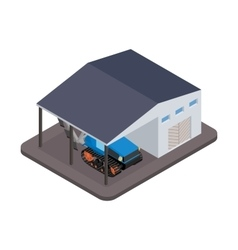 Isometric tractor for repairs at the garage vector image vector image
