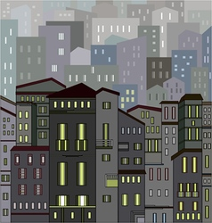 Abstract gray city view in outlines with many hous vector image
