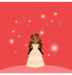 Beautiful cartoon princess on red background vector image vector image