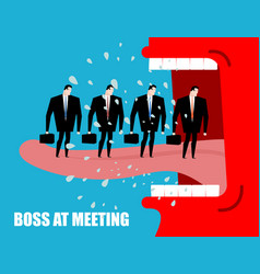 boss at meeting scolds subordinates angry chief vector image