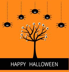 happy halloween card spider hanging dash line vector image vector image