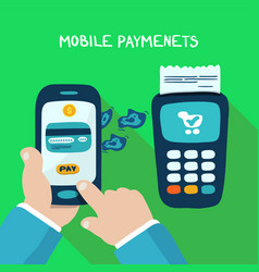 mobile payments with wireless terminal vector image vector image
