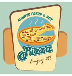 Pizza round advertising poster vector image vector image