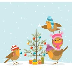 Robins and Christmas tree vector image