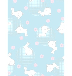 Seamless flowers and rabbits background vector image vector image