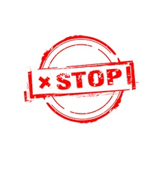 Stop rubber stamp on white vector image
