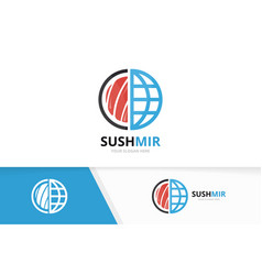 sushi and planet logo combination japanese vector image vector image
