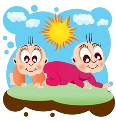 Two happy babies crawling on grass vector
